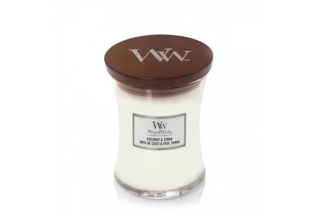 WoodWick Coconut & Tonka Świeca Zapachowa Średnia